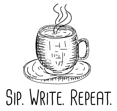 coffee cup with Sip, Write, Repeat slogan
