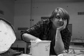 girl, sculptor, art, black and white