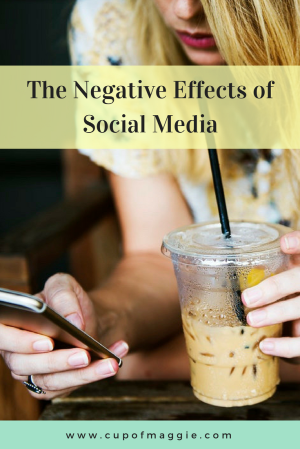 girl with iced coffee holding smartphone negative effects of social media