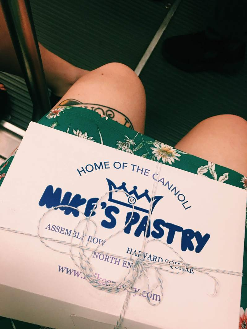 mike's pastry cannoli box on lap of girl in green dress on boston train