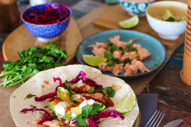 avocado, salmon and red cabbage taco