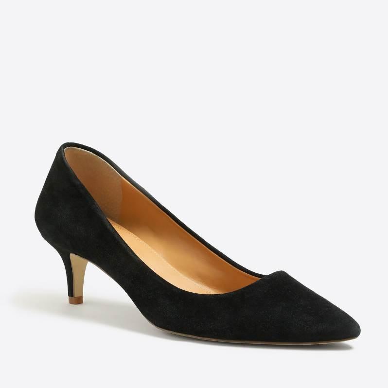 black suede kitten heel