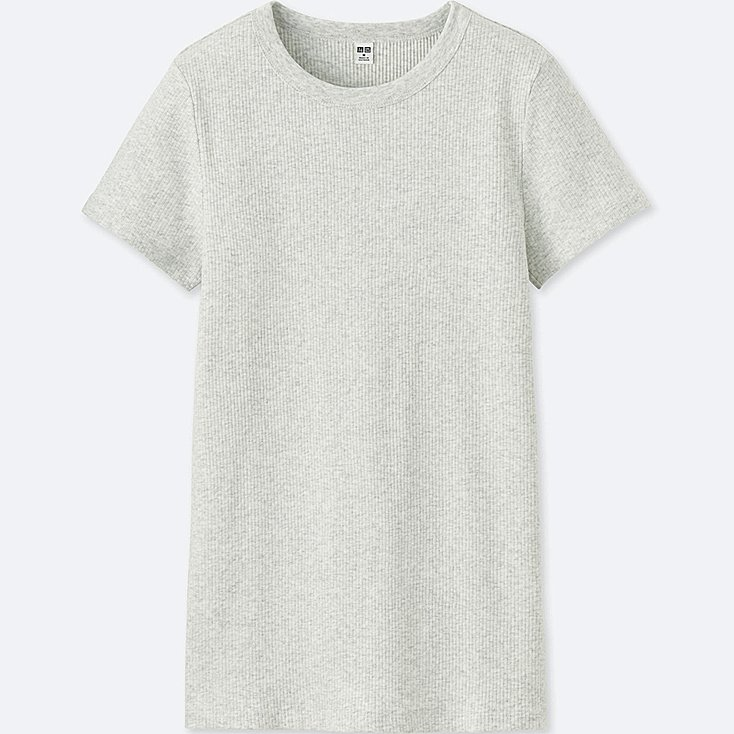 grey heathered ribbed layering tee from uniqlo