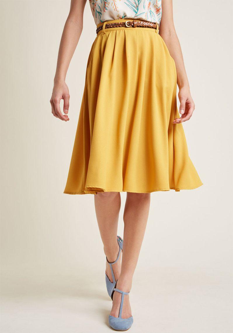 golden yellow midi skirt