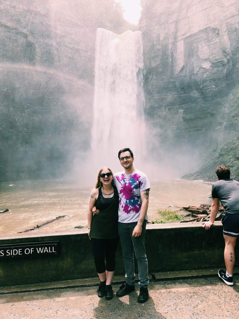 blond girl and dark haired boy, couple, waterfall, taughannock state park