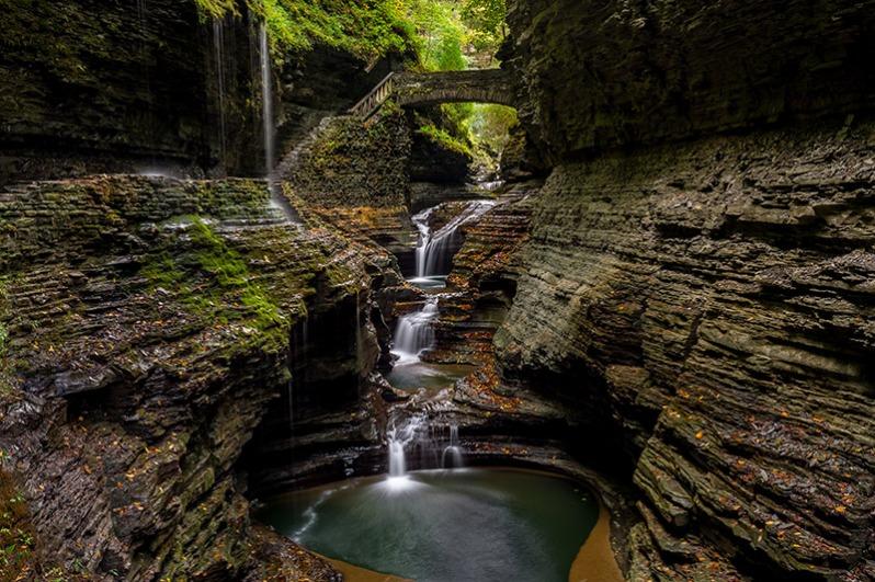 cascading waterfall, gorge, watkins glen state park