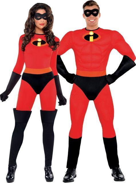 man and woman wearing halloween costumes mr incredible, elastagirl,